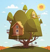 Little tree house for kids with a background of summer fields. Vector illustration.