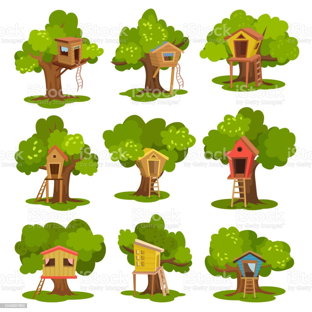 Tree houses set, wooden huts on green trees for kids outdoor activity and recreation vector Illustrations on a white background