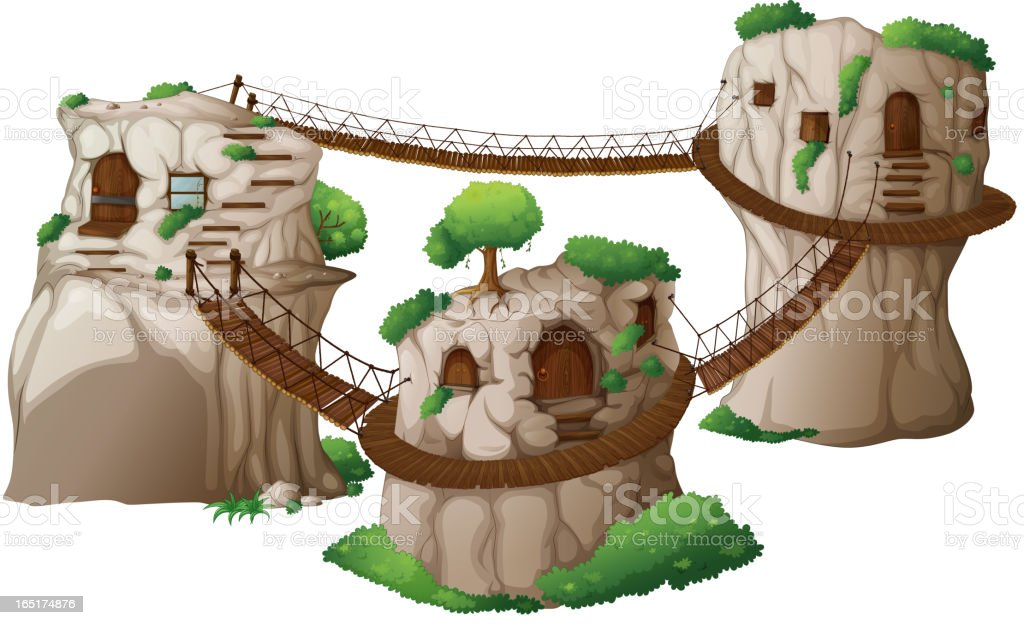 Tree houses with hanging bridges royalty-free stock vector art