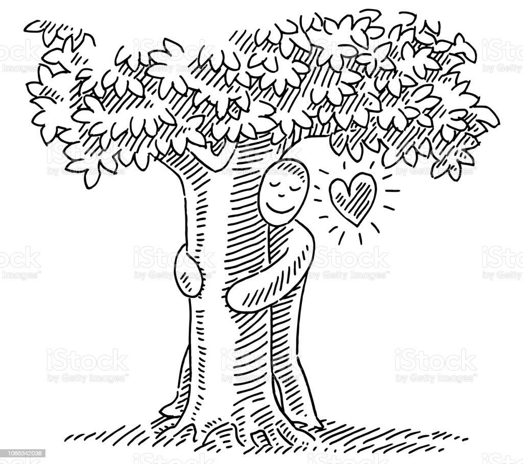Ilustración de Abrazos Naturaleza Amor Concepto Dibujo Del Árbol y ...