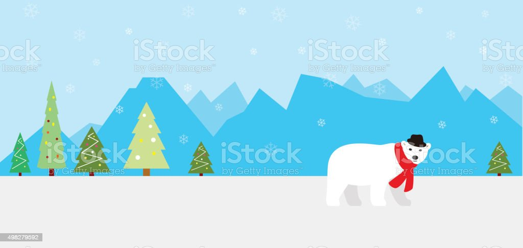 tree, ice mountain, bear wear a scarf and a hat vector art illustration