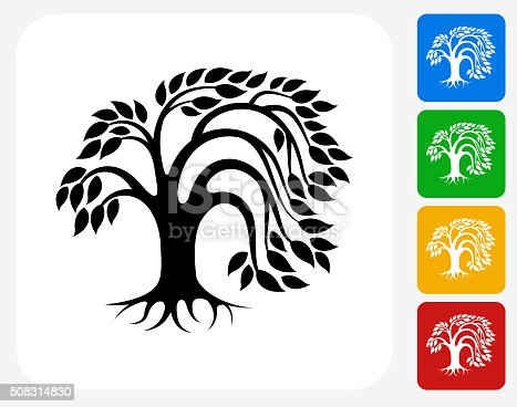 Tree Icon. This 100% royalty free vector illustration features the main icon pictured in black inside a white square. The alternative color options in blue, green, yellow and red are on the right of the icon and are arranged in a vertical column.