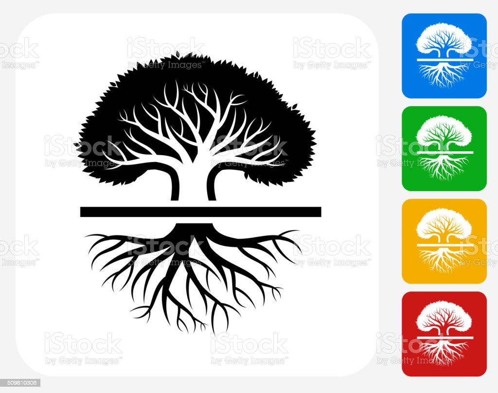 Tree Icon Flat Graphic Design vector art illustration