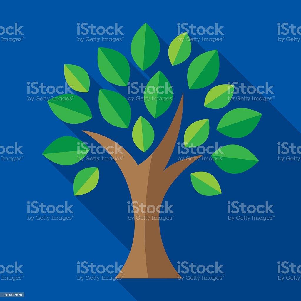 Árbol de iconos plana - ilustración de arte vectorial