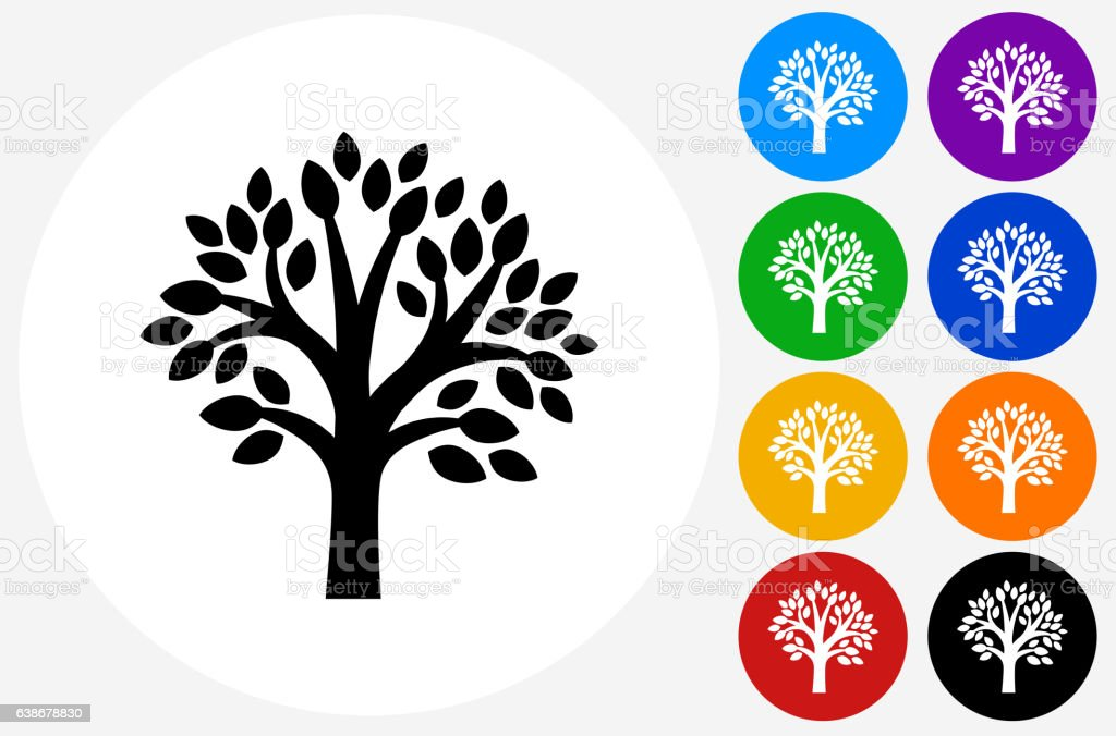 Tree Icon on Flat Color Circle Buttons – Vektorgrafik