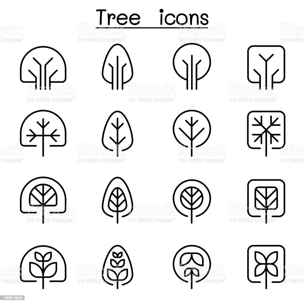 Tree icon set in thin line style vector art illustration