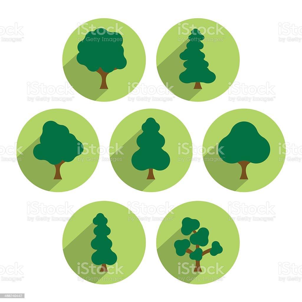 set di icone albero. Semplicemente cerchio verde originariamente piatto. - illustrazione arte vettoriale