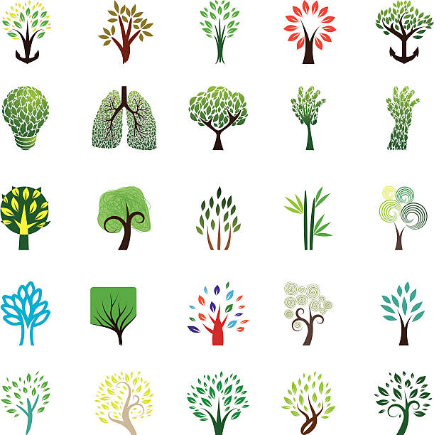 Tree Icon Set vector art illustration