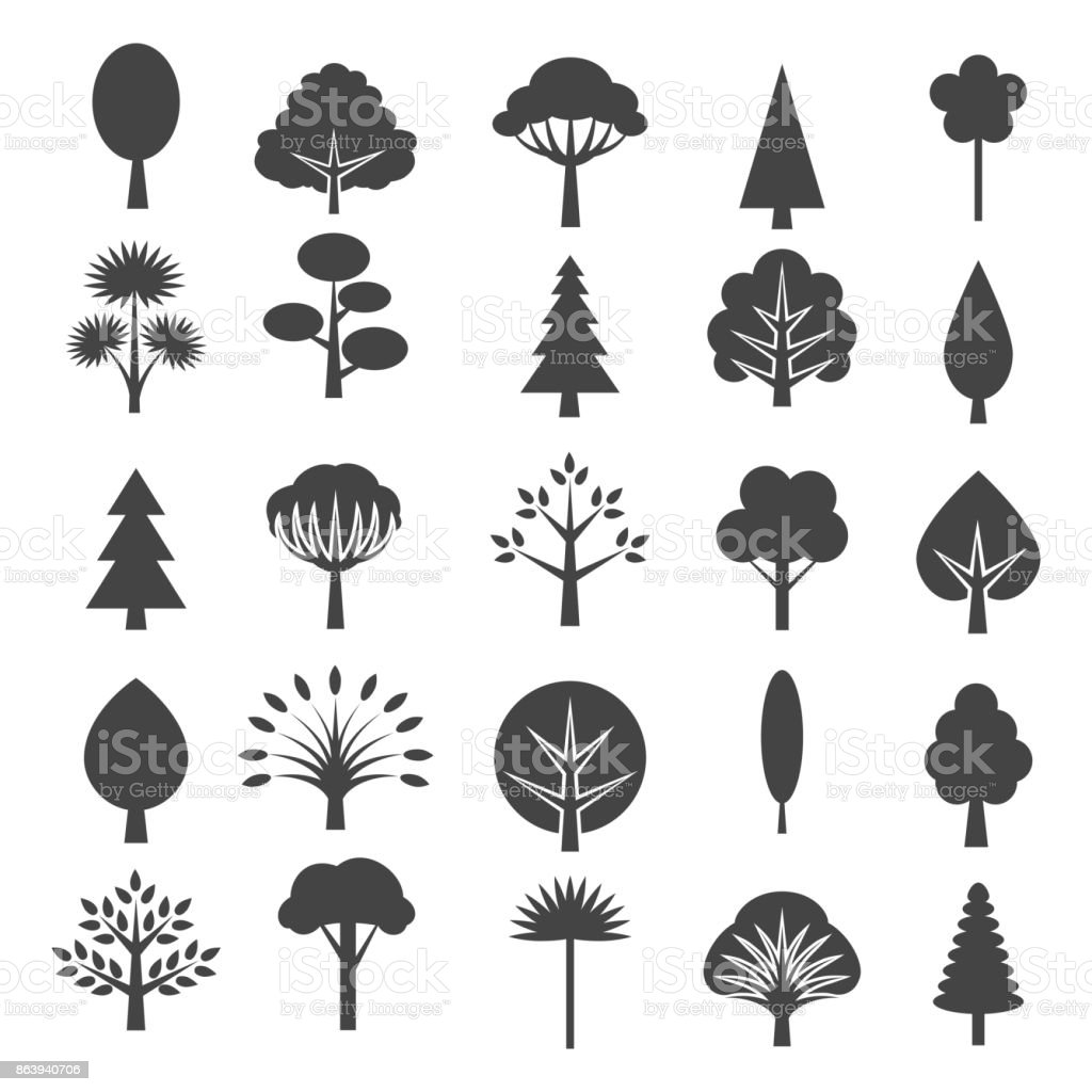 Tree icons isolated on white background vector art illustration