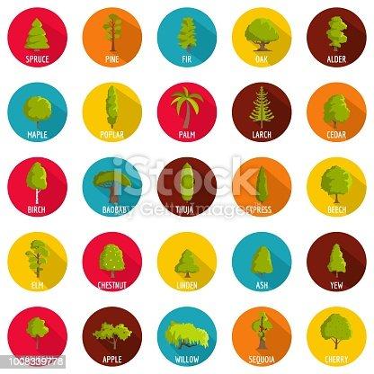 Tree icons set. Flat illustration of 25 tree vector icons circle isolated on white
