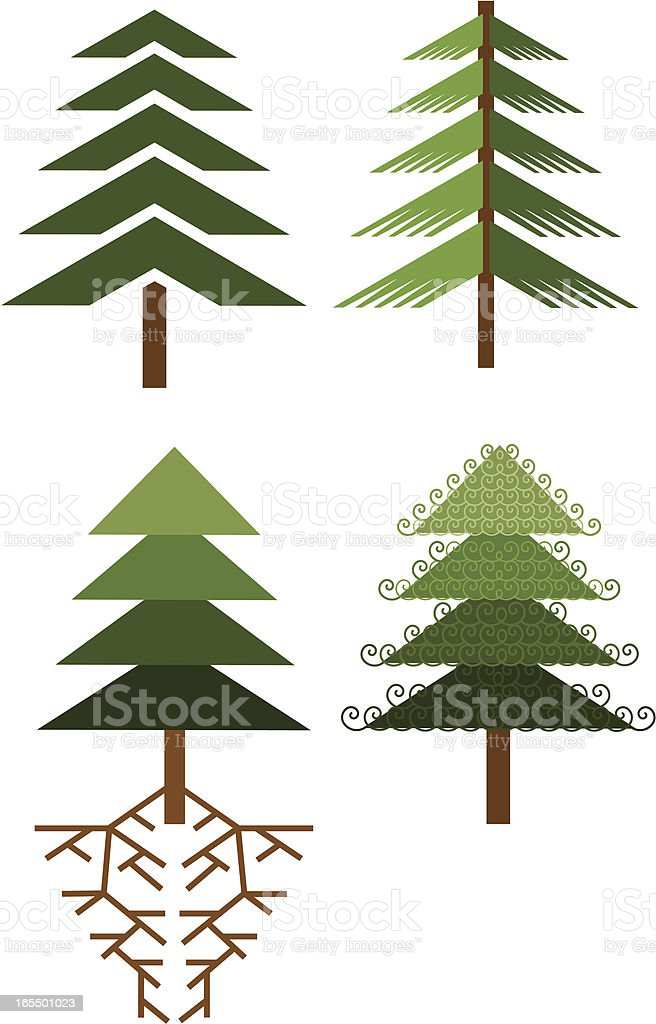 Tree Icons Two royalty-free stock vector art