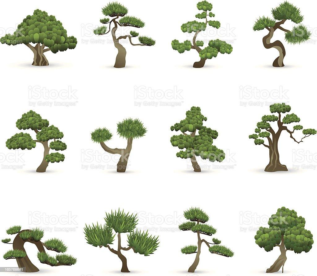 Icone di albero - illustrazione arte vettoriale
