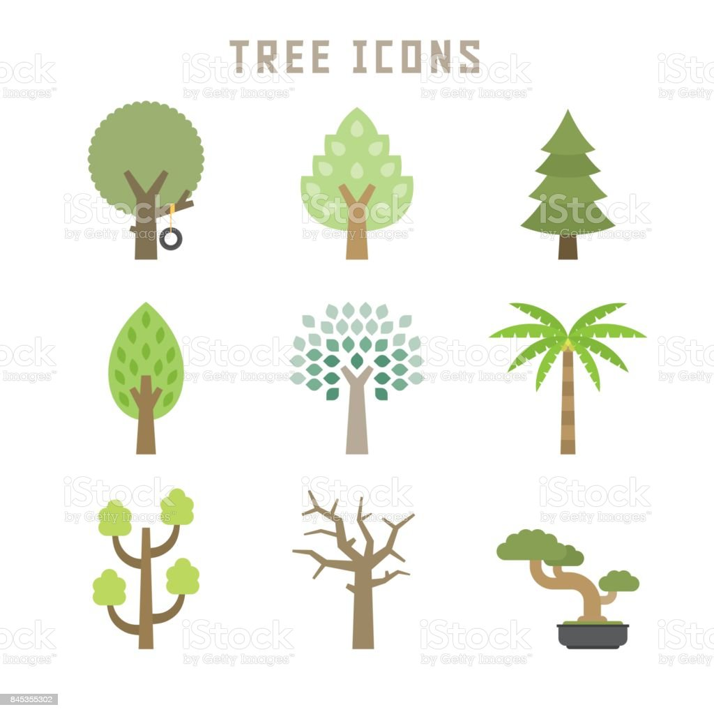 tree icons vector art illustration
