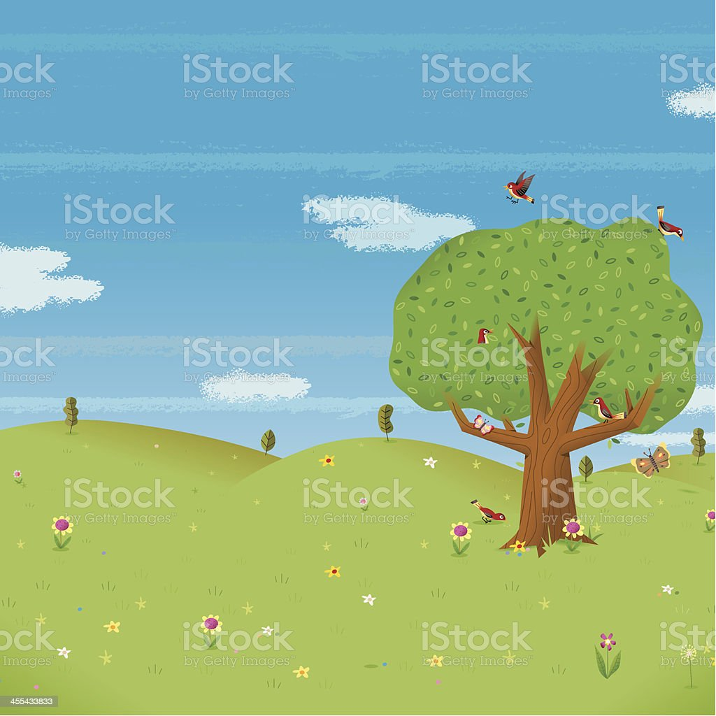 Tree in a field royalty-free tree in a field stock vector art & more images of bird