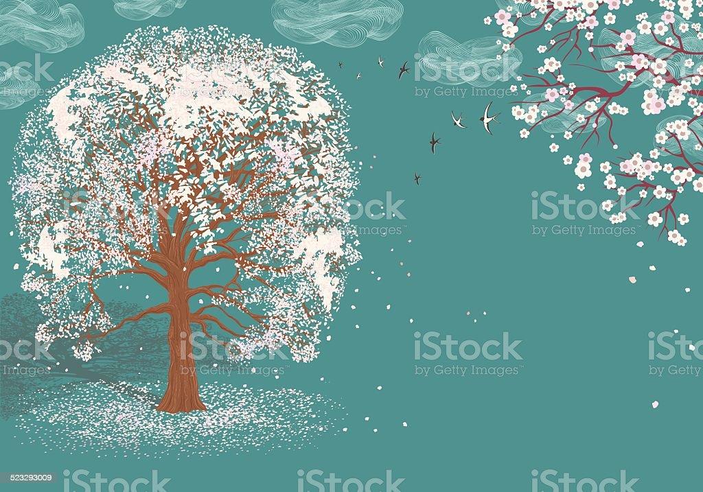 Tree in bloom vector art illustration