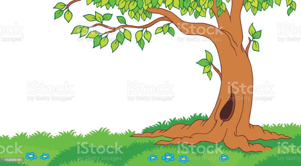 Tree in grassy landscape royalty-free stock vector art