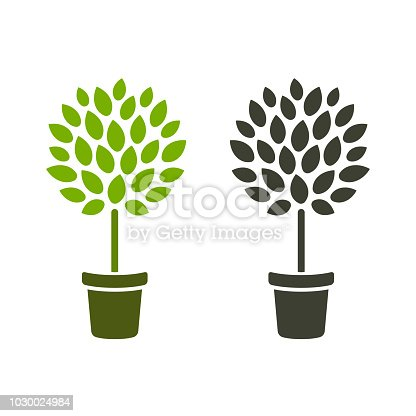 Stylized topiary tree in pot. Simple icon design, color and black and white. Houseplant or gardening vector illustration.