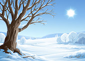 Vector illustration of an old tree in a sunny winter landscape with snowy trees, hills and mountains in the background. Vector illustration with space for text.