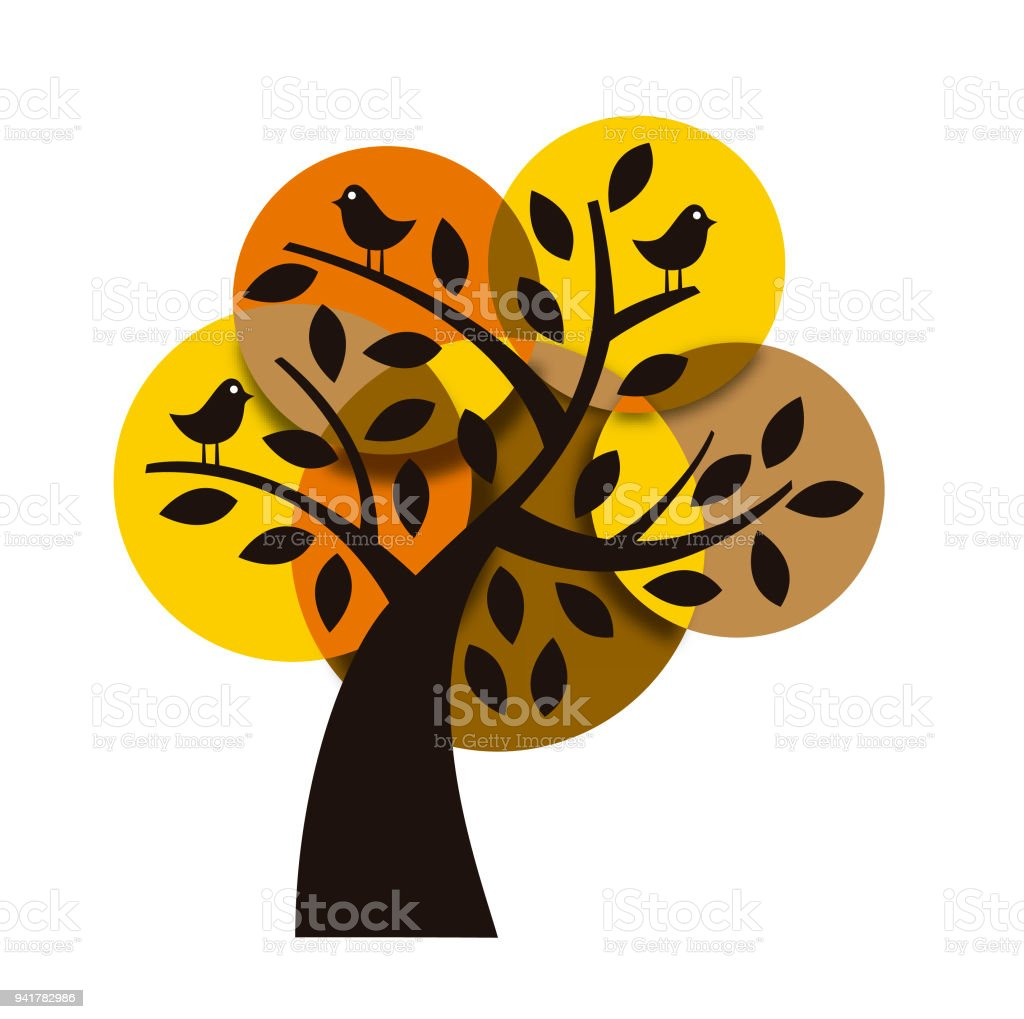 Tree in warm colors vector art illustration