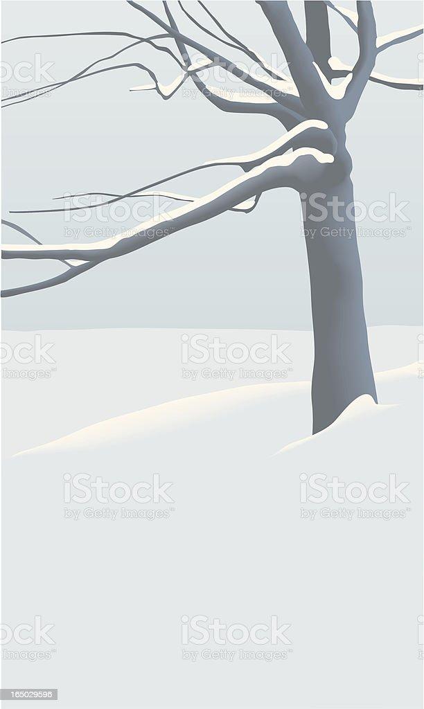 Tree in winter vector art illustration