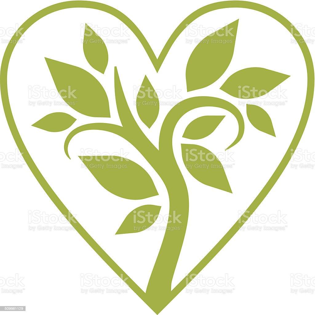 Tree in your heart vector art illustration
