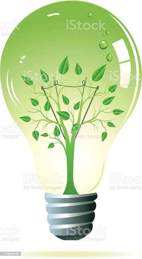 Tree Inside a Green Light Bulb royalty-free stock vector art