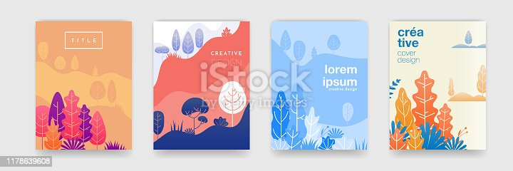 Tree leaf pattern background with abstract forest colors for cover templates creative design. Vector summer, autumn, spring and winter forest trees and leaves landscape background set