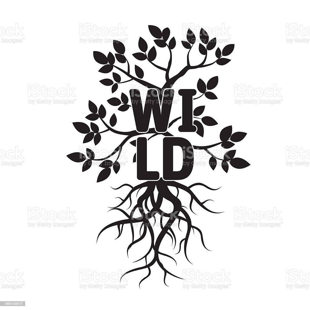 Árvore, leafs, raízes e texto de vida selvagem. - ilustração de arte em vetor
