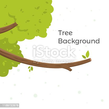 Tree cartoon background with copy space. Detailed vector illustration isolated on white background. Vector illustration of green cartoon tree