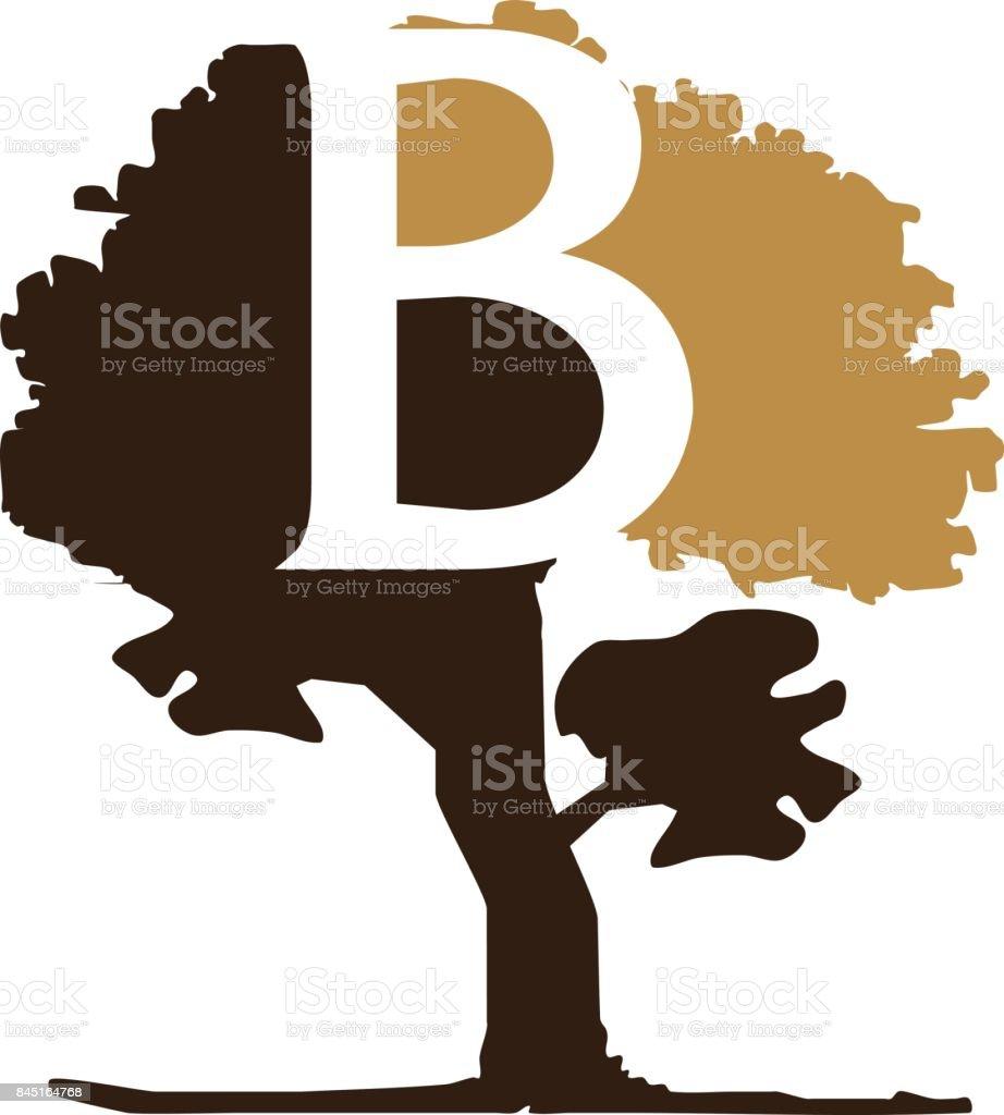 Tree Letter B vector art illustration