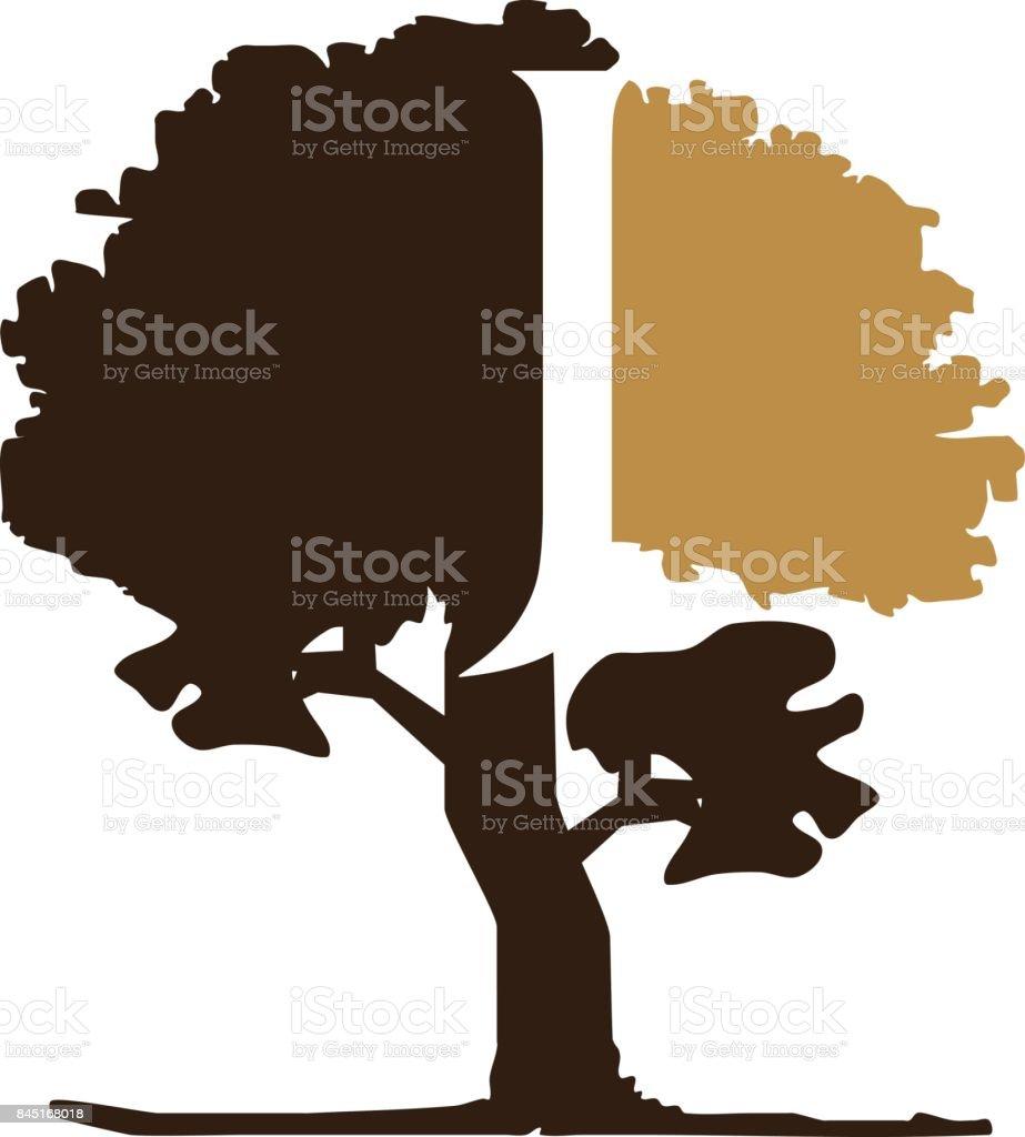 Tree Letter J vector art illustration