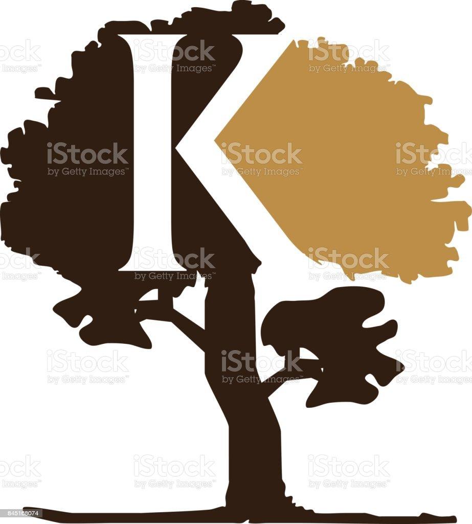 Tree Letter K vector art illustration