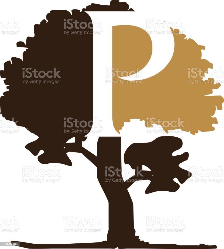 Tree Letter P vector art illustration