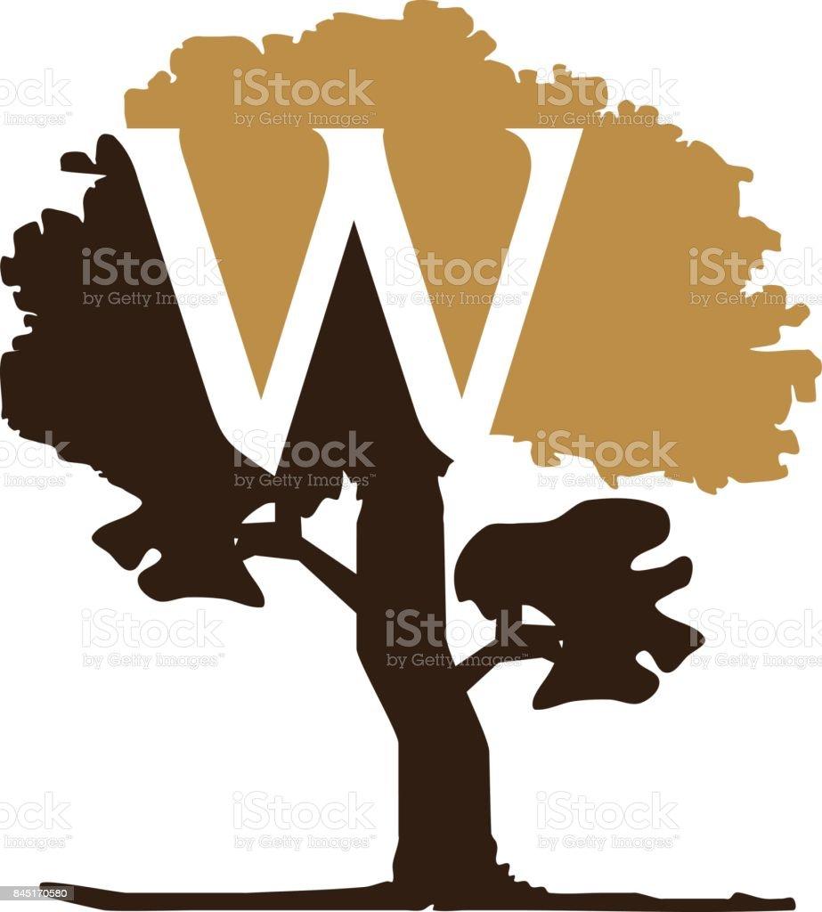 Tree Letter W vector art illustration
