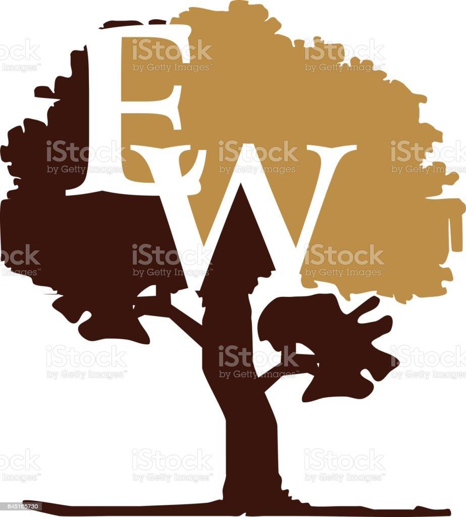 Tree Letter WE vector art illustration