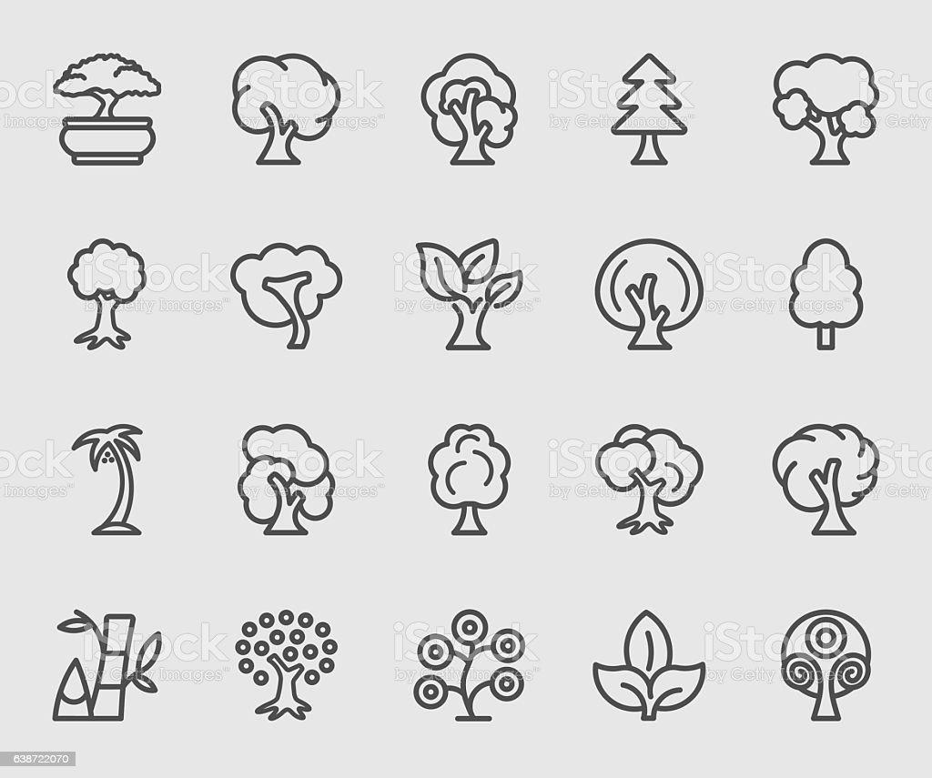 Tree line icon - illustrazione arte vettoriale