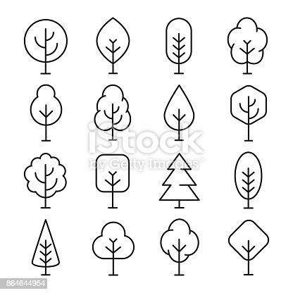 Tree line icon. Naturally beautiful symbol, wooden trunk and outline branches for map. Vector line art illustration isolated on white background