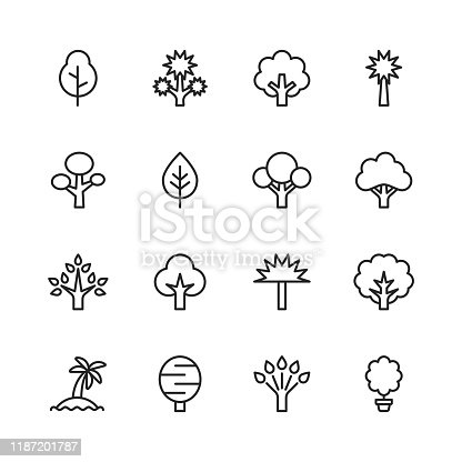 16 Tree Outline Icons.