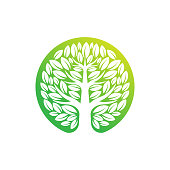Tree Logo design vector illustration. Abstract Tree Logo vector in creative design concept for nature, agriculture and farm business. Tree Logo, icon, sign and symbol vector design illustration.
