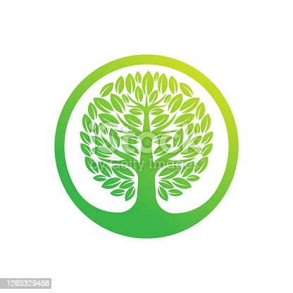 istock Tree Logo design vector illustration. Abstract Tree Logo vector in creative design concept for nature, agriculture and farm business. Tree Logo, icon, sign and symbol vector design illustration. 1263329458