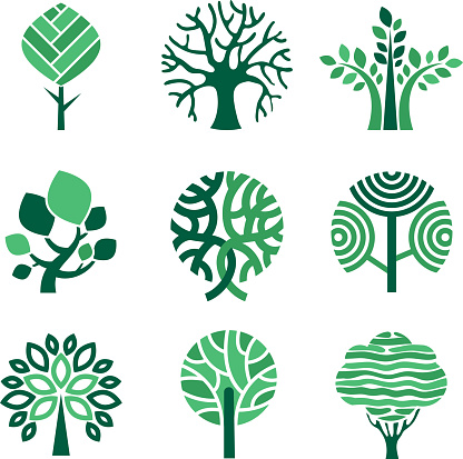 Tree logo. Green eco symbols nature wood tree stylized vector pictures