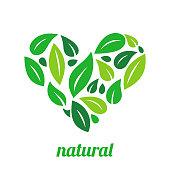 Tree Logo heart shape design vector template.Organic Natural Plant Garden Park Logotype concept icon