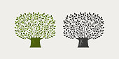 Tree logo or symbol. Nature, ecology, environment icon. Vector illustration