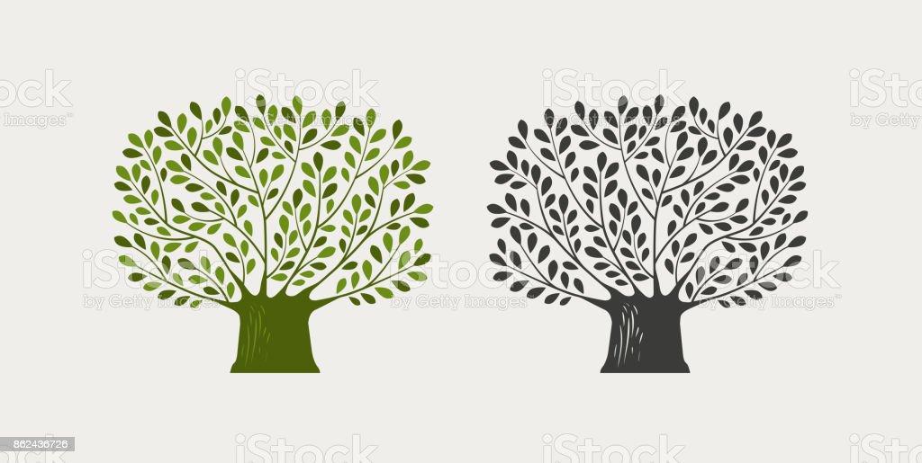 Árbol insignia o símbolo. Naturaleza, ecología, medio ambiente icono. Ilustración de vector - ilustración de arte vectorial
