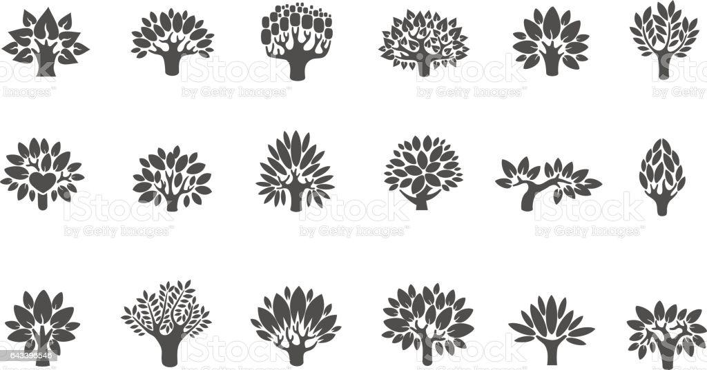 Logo de l'arbre ensemble. Arbre illustration jeu d'icônes. Arbre à fleurs - Illustration vectorielle