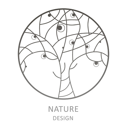 Tree logo template. Abstract outline round icon of trees. Vector logo for business design, icon for cosmetology, ecology concept, health, spa, yoga and eco products.