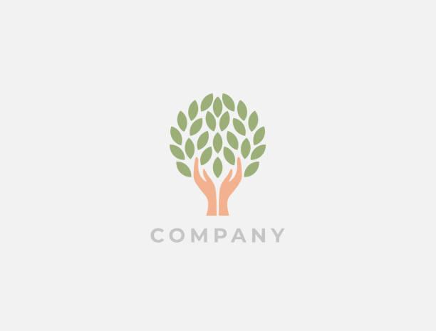 樹標誌與人的手。生態、環境、環境友好、分享、關懷或慈善象徵。成長的概念。生態向量例證。手 + 葉子徽標。基礎標識。 - optimistic 幅插畫檔、美工圖案、卡通及圖標