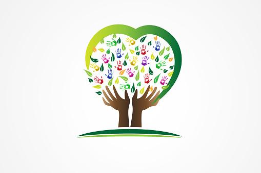 Tree love heart shaped icon vector
