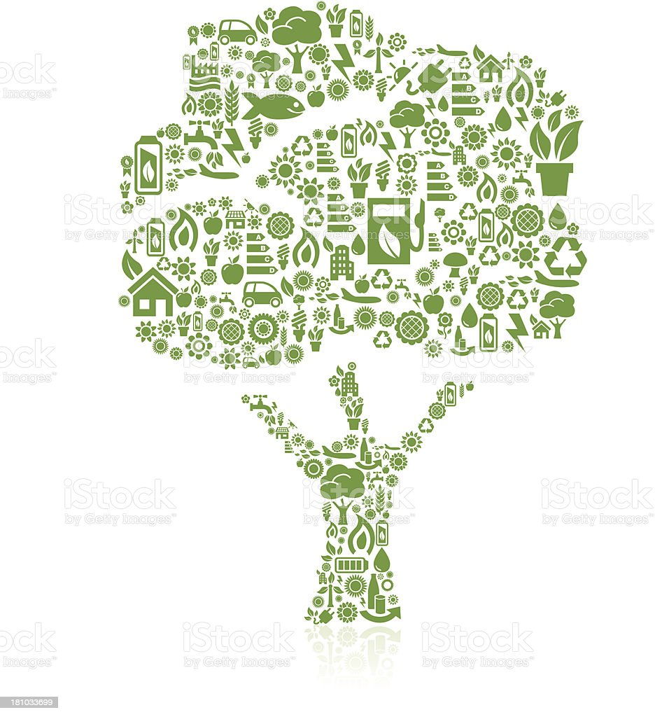 Tree made of ecology icons royalty-free stock vector art