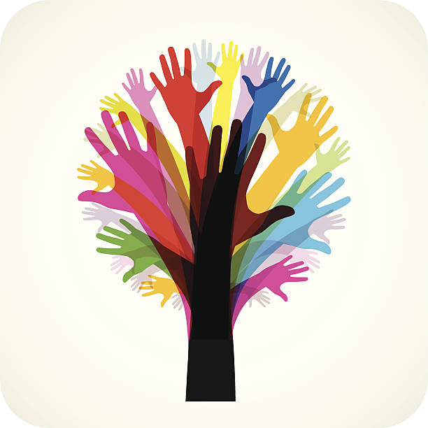 Tree Made Of Hands  community silhouettes stock illustrations